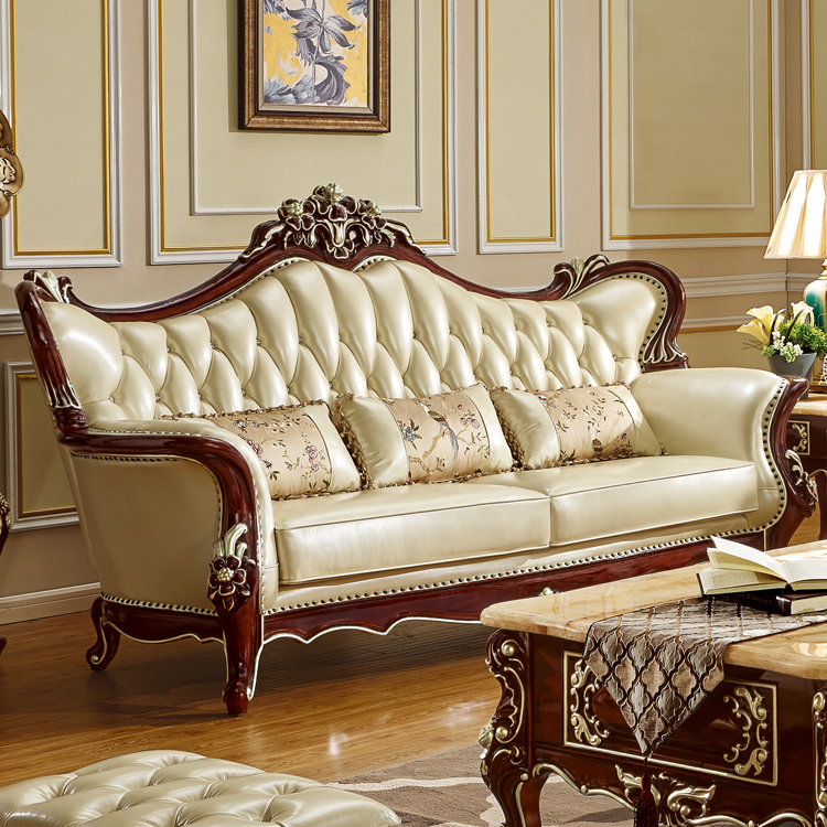 Luxury european style leather quality sofa set for big - European style living room furniture ...