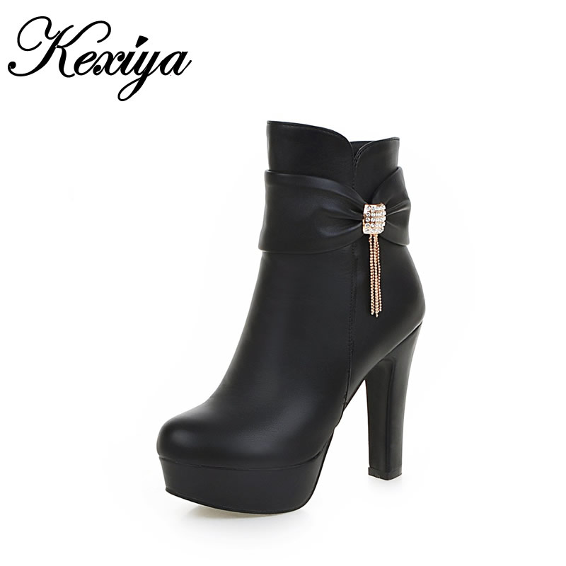Short boots fashion winter women Shoes sexy Round Toe platform high heels big size 31-45 beige zipper Ankle boots zapatos mujer fashion winter women short boots sexy pointed toe platform high heel shoes big size 32 46 solid pu ladies zipper ankle boots