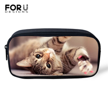 FORUDESIGNS Lady Make Up Travel Bags Kawaii Cats Prints Cosmetic Little Animal Pattern Girls Pen Children Pencil