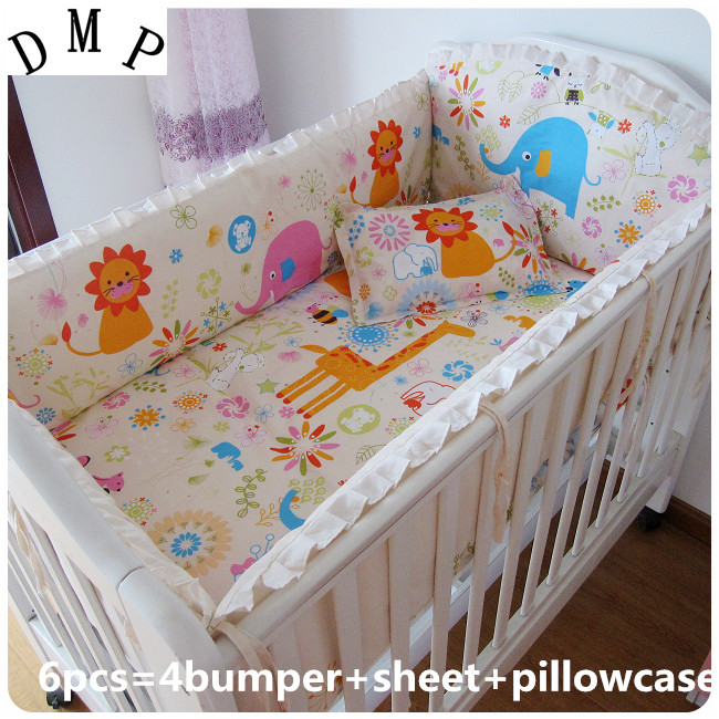 6PCS Baby Bedding Set Cotton Curtain Crib Bumper Baby Cot Sets Infant Baby Bed Set (4bumpers+sheet+pillow Cover)