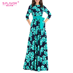 Image 5 - فستان نسائي طويل من S.FLAVOR مطبوع للخريف فستان حفلات طويل فضفاض بياقة دائرية للنساء عرض ساخن فساتين نسائية بدون جيوب