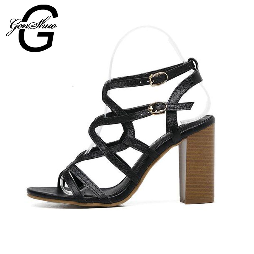 Brand Women Shoes Summer Women Sandals Casual Open Toe Ankle Strap Cutouts Sandals Shoes Woman High Heels Gladiator купить