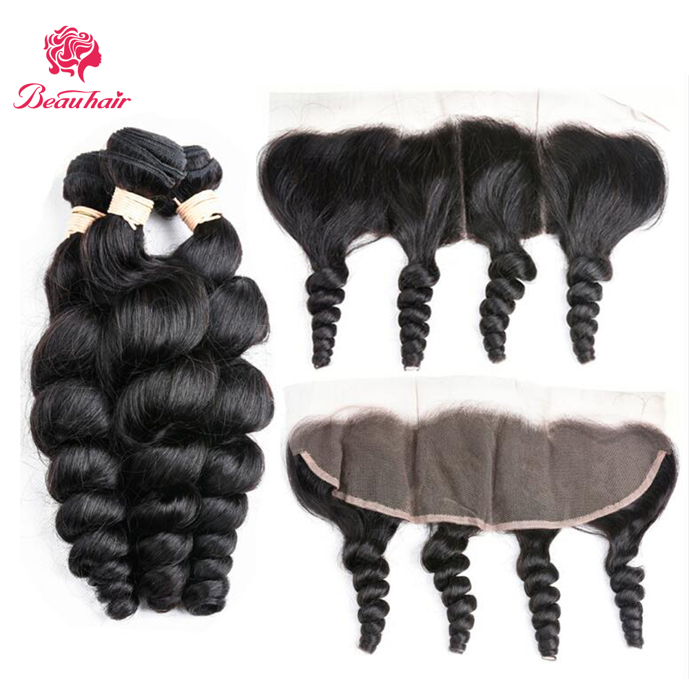Brazilian Loose Wave 4 Bundles with Lace Frontal 13x4 Ear to Ear Closure Free Part Human Hair Natural Color Non Remy Human Hair