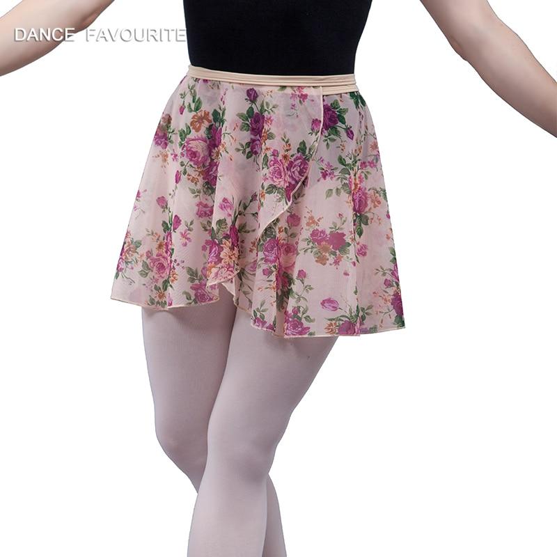 Adult Women Spandex Waist Flowral Ballet Wrap Skirt Teacher Dance Ballet Tulle Skirt flower wrap skirt ballet dancewear