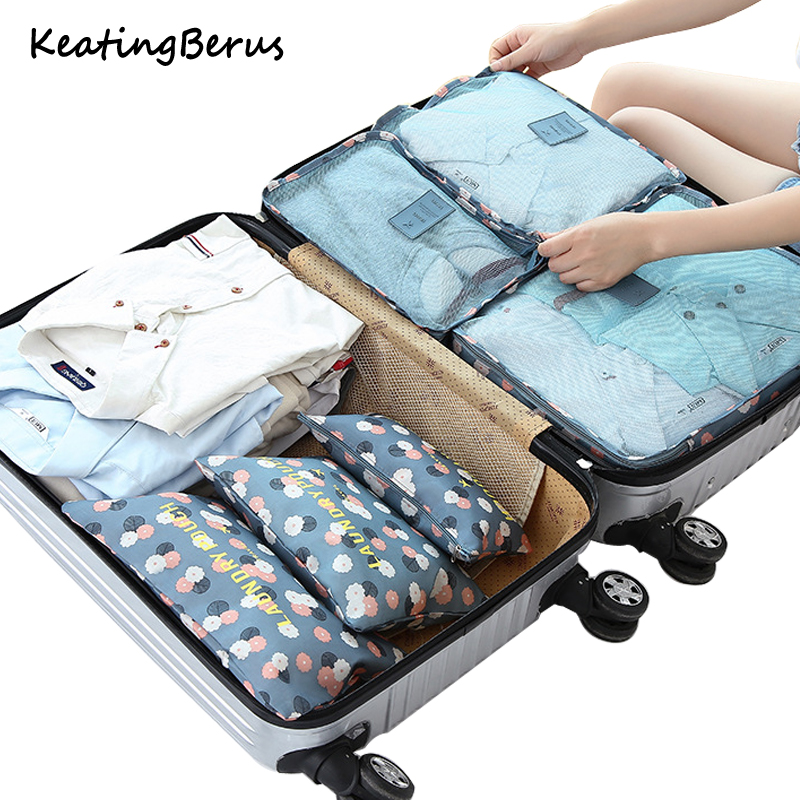 Nylon Packing Cube Waterproof Travel Bag 6Pcs/Set System Durable Large Capacity Of Bags Unisex Clothing Sorting Organize
