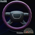 New Real Cow Leather Car Steering Wheel Covers 5 Colors Non-slip Universal For Car Styling 37-38CM Steering-wheel Free Shipping