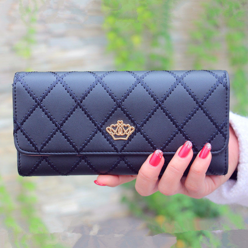 2018 New fashion women wallet brand Long design women wallets pu leather lattice high quality female purse clutch bag A0706