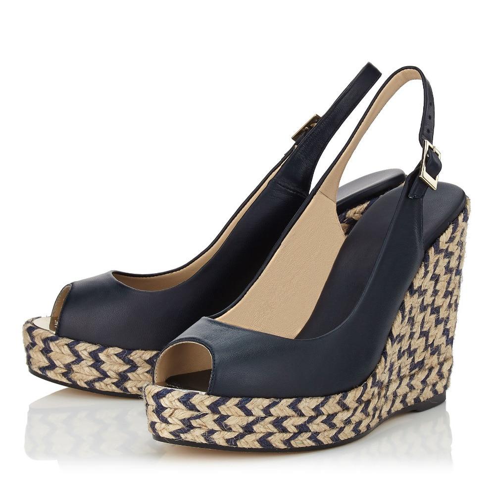 Ladies Shoes Wedges 2016 Peep Toe Hemp Rope woman Wedge Platform font b Sandals b font