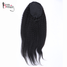 Kinky Straight Human Hair Ponytails Natual Black Color 100g/Piece Brazilian Ponytail Extensions Clip In Remy Ever Beauty Hair