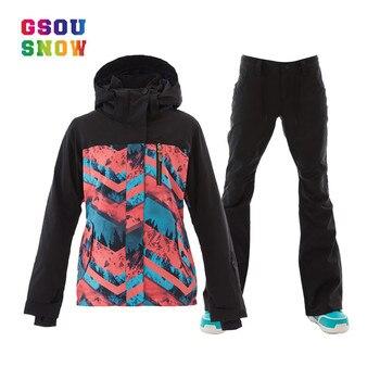 eb11bfedf979f Gsou nieve de las mujeres trajes de esquí de invierno chaquetas snowboard y  pantalones a prueba de viento impermeable colorido mujer deportes al aire  libre ...