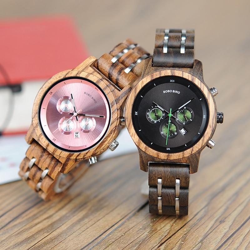 Деревянные часы WP18 BOBO BIRD для женщин,роскошные деревянные часы с металлическим браслетом, кварцевые часы с секундомером и календарем, роскош...