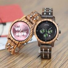 בובו ציפור נשים שעונים יוקרה הכרונוגרף תאריך קוורץ שעון יוקרה תכליתי גבירותיי עץ שעונים מקבלים לוגו זרוק חינם