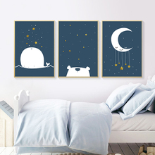 Gohipang Baby Nursery Canvas Poster Cartoon Whale Moon Wall Art Print Minimalist Painting Decoration Picture Nordic Kid Boy Room