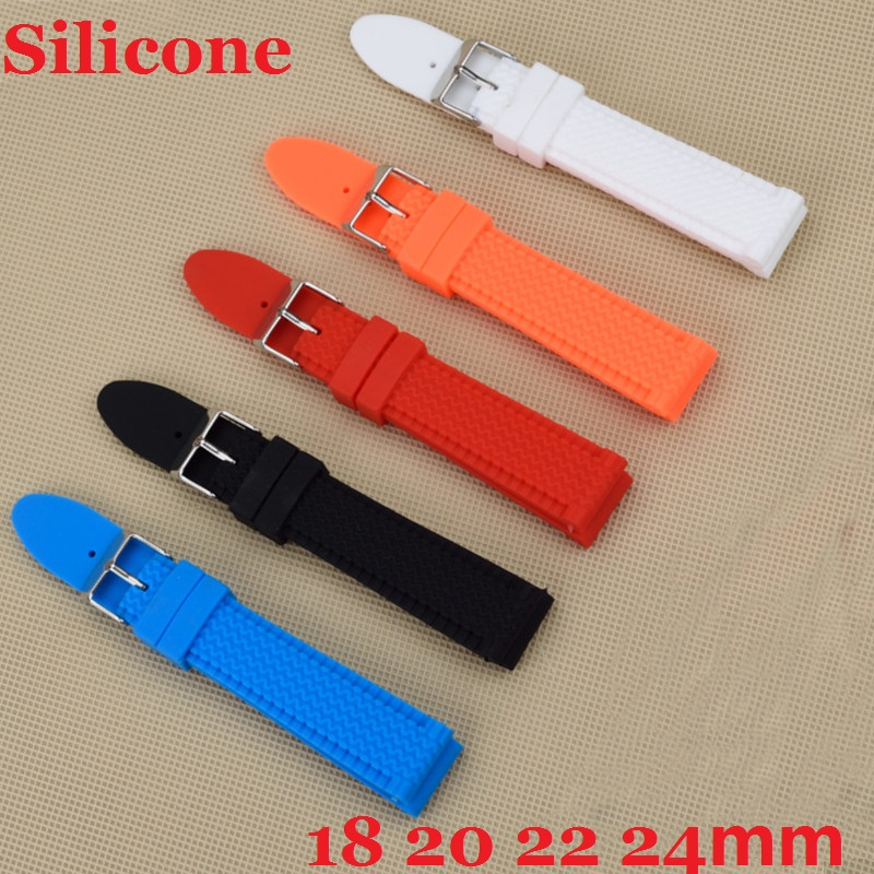 Popular Design Vintage Soft Eco friendly Black Red Silicone Watchband Watch Straps 18mm 20mm 22mm 24mm