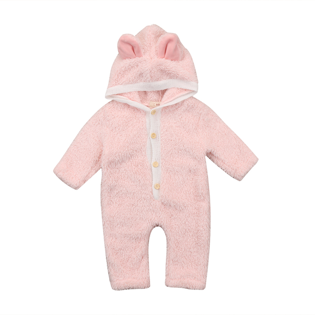 Newborn Baby Boy Girl Fuzzy Romper 3d Ear Long Sleeve Hooded