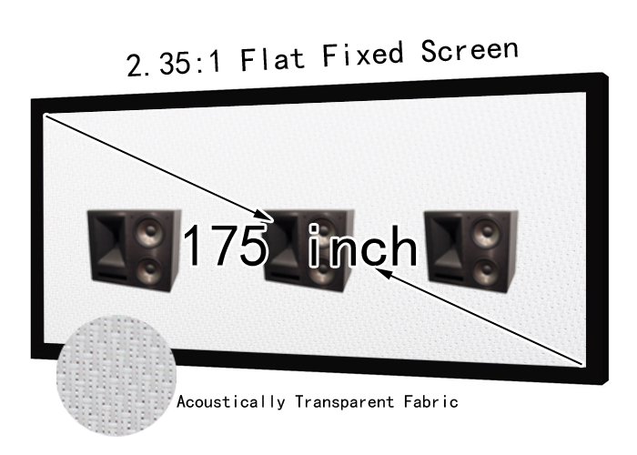 Best Acoustically Transparent Home Theater Projector Screen 175inch 2.35x1 Format For Sound Cinema Fixed Projection Screens low price 92 inch flat fixed projector screen diy 4 black velevt frames 16 9 format projection for cinema theater office room