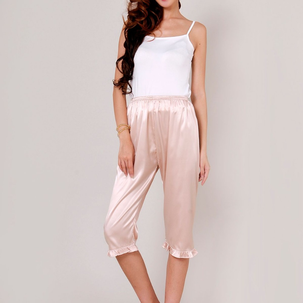 Women's Lounge Pant 2017 Spring Summer Faux Silk Plus Size S-XXXL Pyjama Trousers Sleep Pants Women White Pajama Bottoms Q338 1