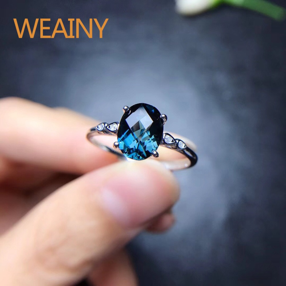 Natural London Blue Topaz Simple Rings 925 Sterling Silver White Gold Fine Jewelry for Women
