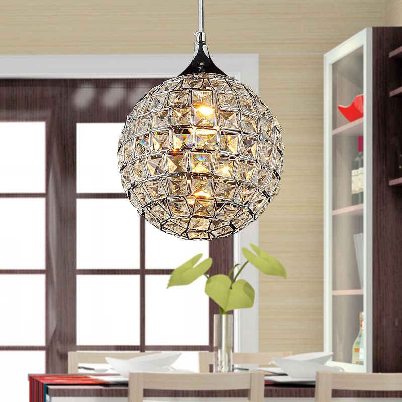 Modern 8 Crystal Dining Room Pendant Lights ablaze Crystal Ball Bar Counter Restaurant Hanging Lighting Fixtures