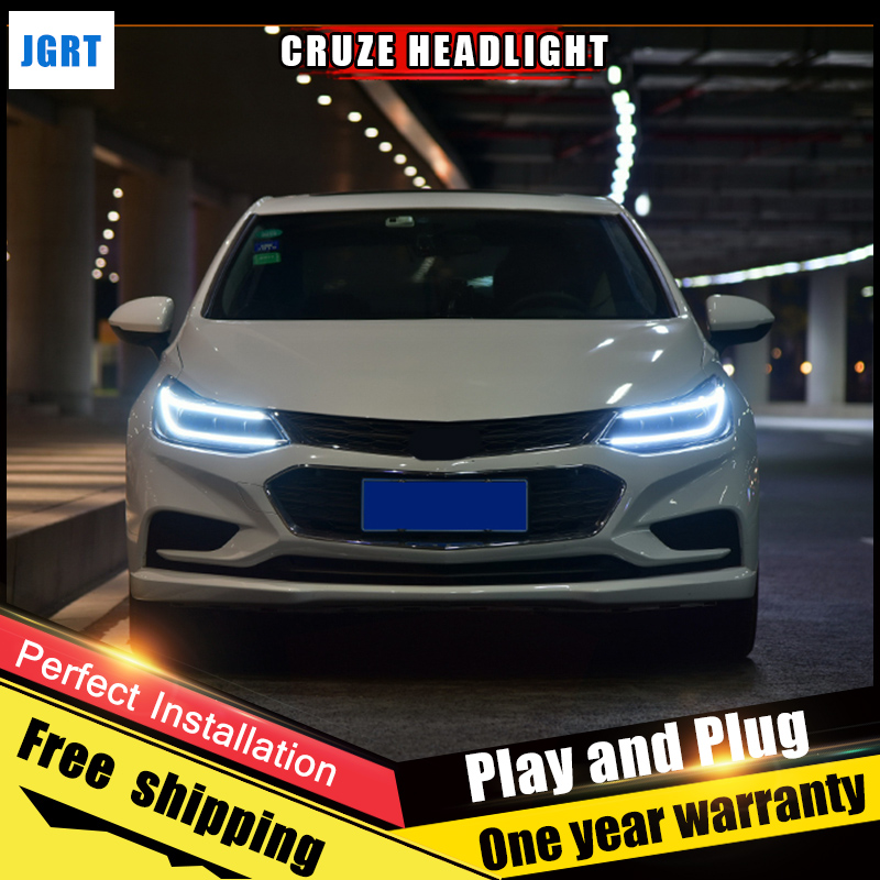 2PCS Car Style LED headlights for Chevrolet Cruze 2018 for Cruze head lamp LED Lens Double Beam H7 HID Xenon bi xenon lens for volkswagen polo mk5 vento cross polo led head lamp headlights 2010 2014 year r8 style sn