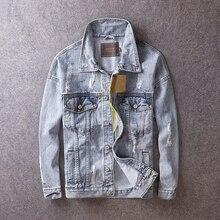 Japanese Style Vintage Men Jacket Retro Blue Destroyed Ripped Coats Fashion Streetwear Hip Hop Denim Jackets British