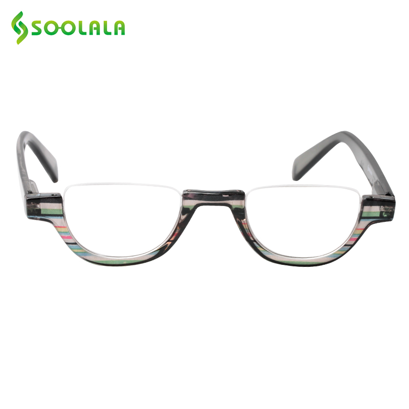 SOOLALA Flat Top Semi-Rimless Reading Glasses Women Men 2018 New Cheap Presbyopia Reading Glasses With Leather Case +1.0 To 4.0