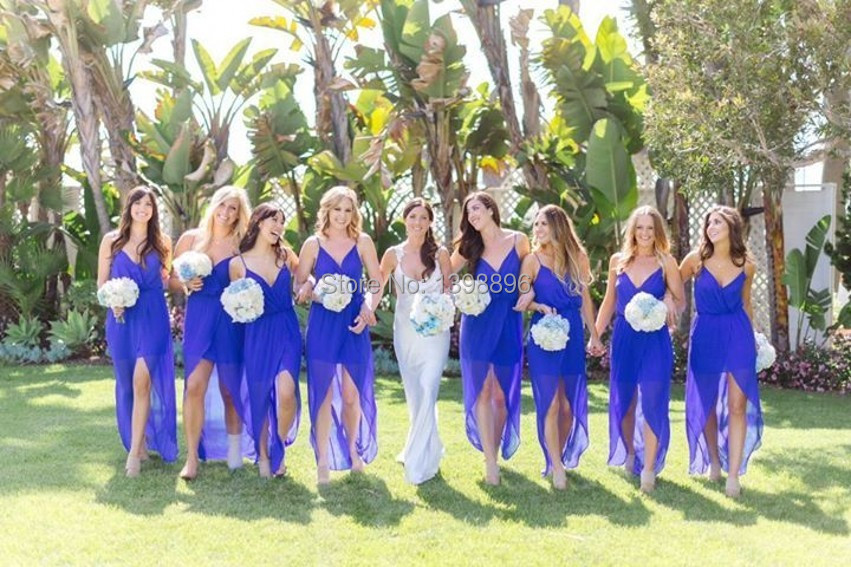 Royal Blue Hi Lo Bridesmaid Dresses For Summer Beach Wedding 2016 Spaghetti Straps Maid Of Honor Dress Prom In From Weddings