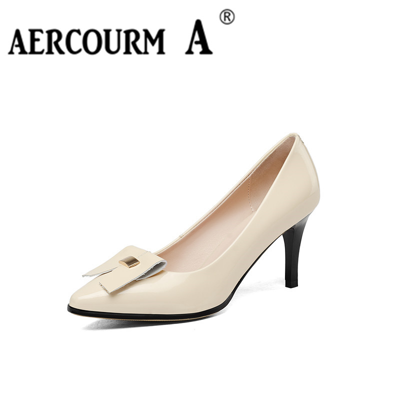 Aercourm A Ladies Sexy Thin High Heels Genuine Leather Pumps Casual Femal 2017 Spring Summer New Women Wedding Party Shoes