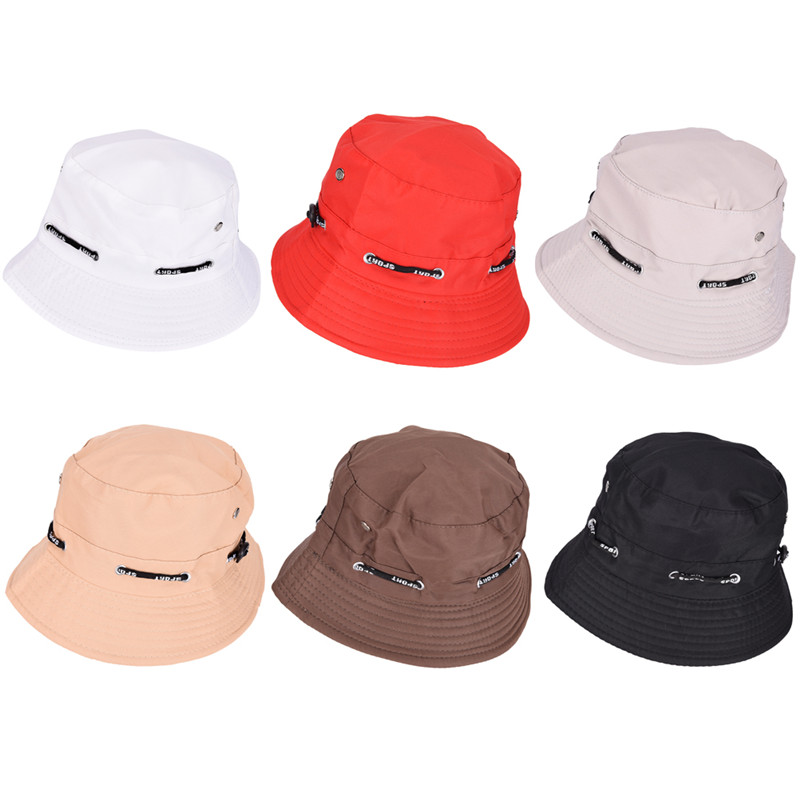 Travel Women Sun Hat Spring Summer Hat Unisex Flat Cotton Bucket Hat For Men Women Female Male Fisherman Cap Black Red