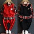 2016 Hitz Корейских мальчиков и Девочек Колледж моды стиль случайные ложные две брюки костюм бесплатная доставка