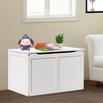 Safety Hinge Wooden Chest Organizer Toy Storage Box Durable Simple High Quality White Woden Toys Organizer Box HW55248