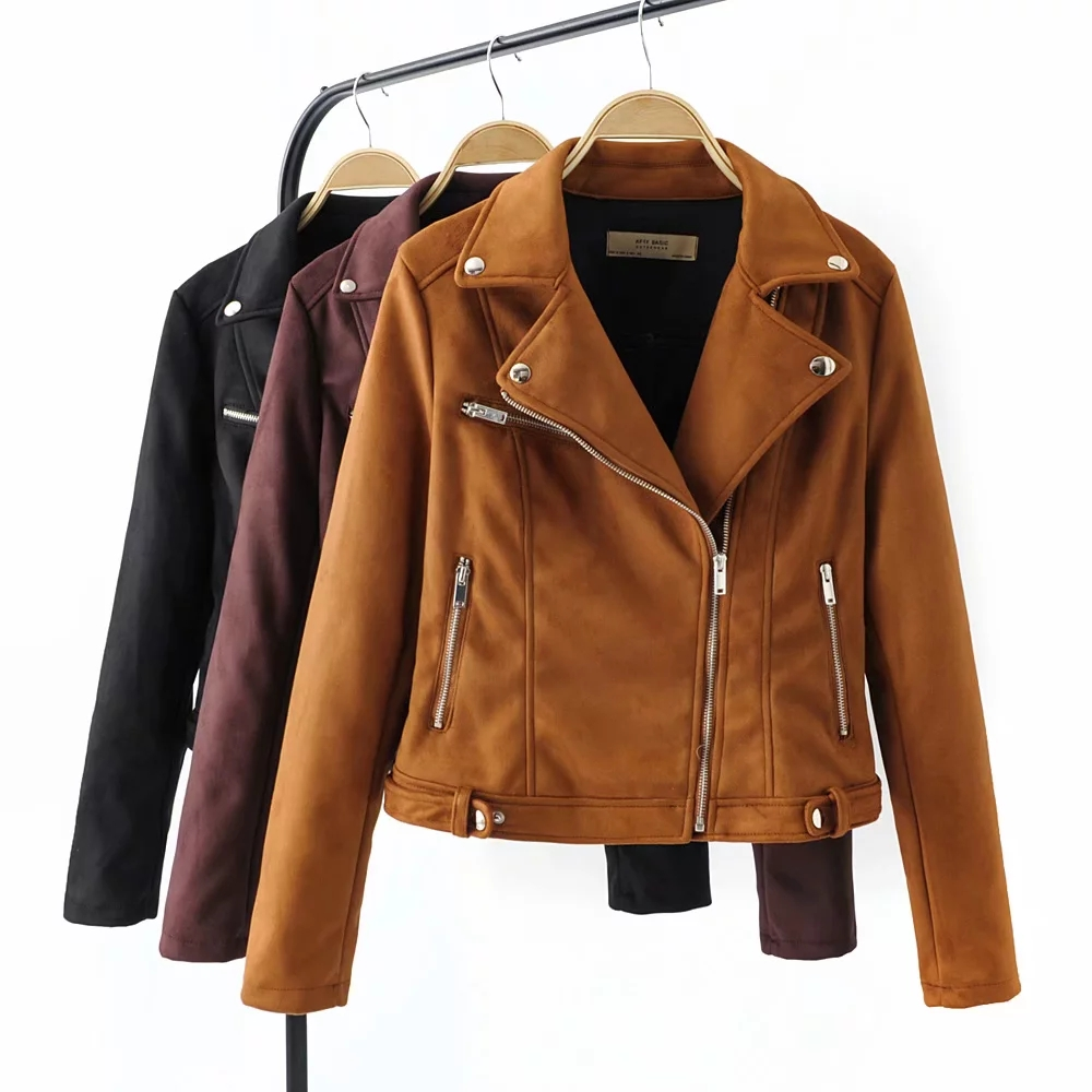 Klacwaya black women   suede     Leather   jackets fashion ladies khaki bomb jacket street-wear girls cool biker outfit coat feminine