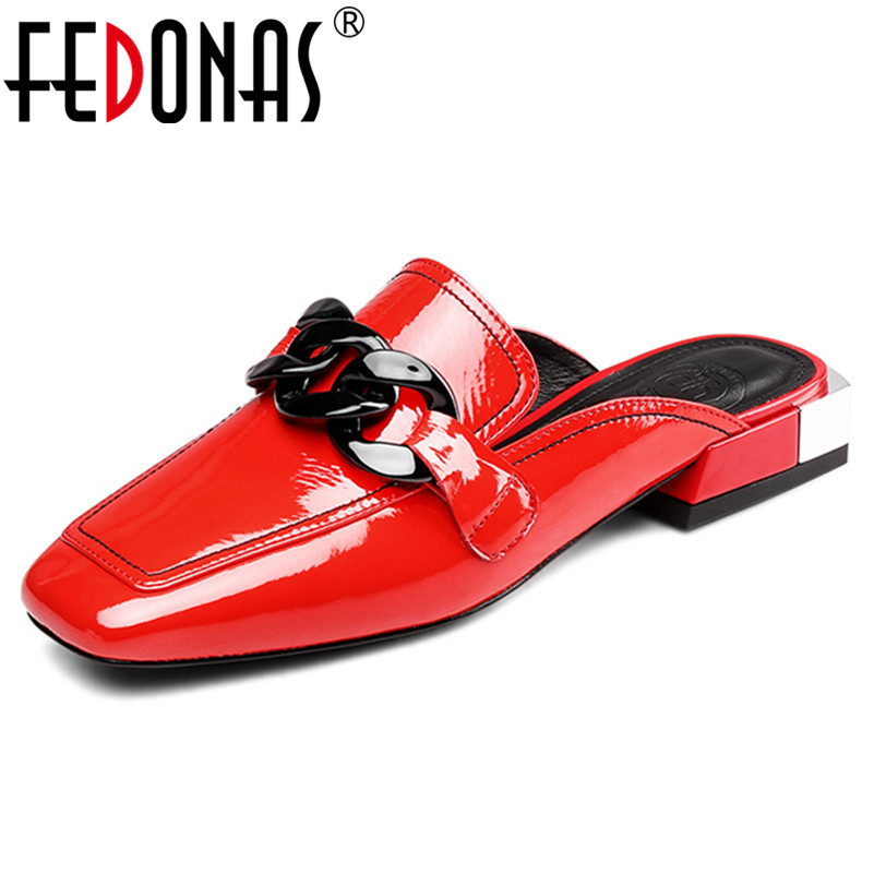 FEDONAS 2019 Fashion Rome Women Pumps Genuine Leather Women Slippers Spring Summer Shallow Sandals Woman Party