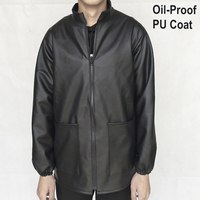 Oil Proof Leather PU Coat Waterproof Leather Clothing Overalls Wear Resistant Car Wash Auto Repair Waterproof Black Clothes