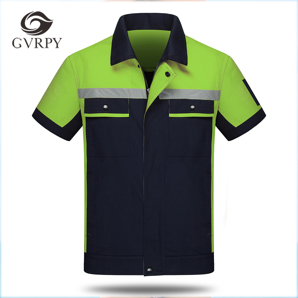 Wholesale High Quality Unisex Workshop Wear Clothes Summer Short Sleeve Shirt Two Pieces Set Repairment Service Patchwork Jacket