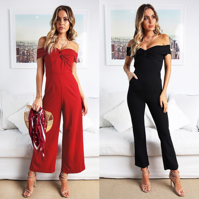c09d052c47f Sexy Off The Shoulder Wide Leg Jumpsuits Solid Long Playsuits Rompers  Female Sweet Overalls Backless Jumpsuit Women Romper