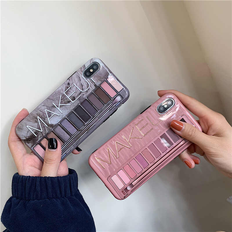 Makeup Eyeshadow Palette phone Case For iphone XS Max XR XS for iphone 6 6s 7 8 plus glossy soft silicone case cover