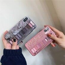 Maquillaje sombra de ojos paleta funda de teléfono para iphone XS Max XR XS para iphone 6 6s 7 8 plus funda de silicona suave brillante