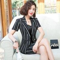 Classic stripes blazer skirt suit female 2019 office uniform designs women business suit frock short sleeve jacket skirt suits