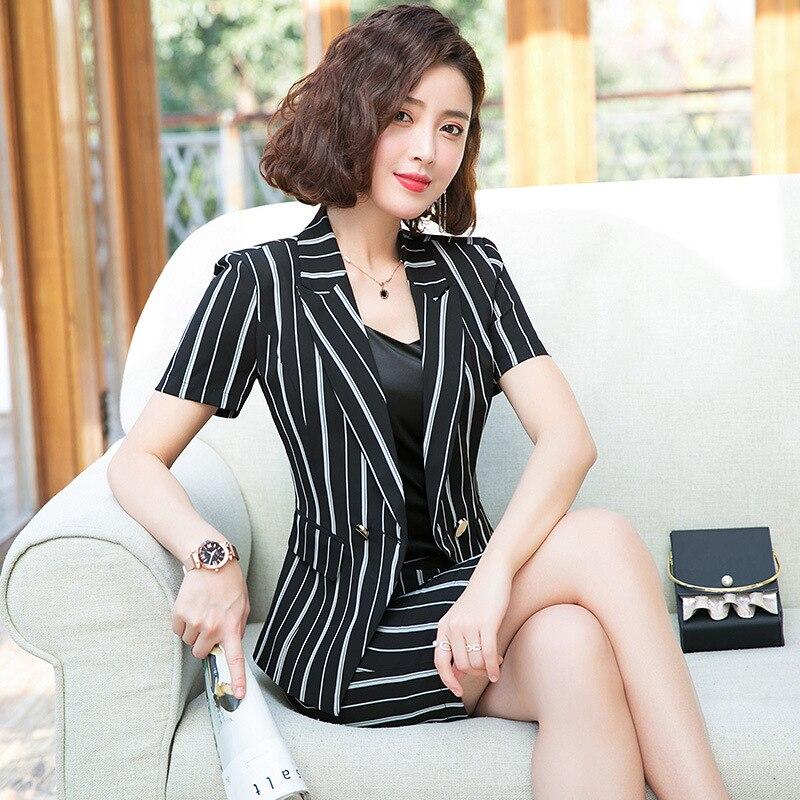 Classique rayures blazer jupe costume féminin 2019 conceptions bureau uniformes femmes d'affaires costume robe à manches courtes veste jupe costumes
