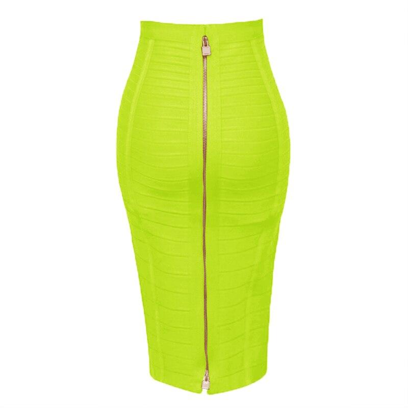 13 Colors Plus Size XL XXL 58cm Women Sexy Zipper Black Blue Orange Red Rayon Bandage Skirt 2018 Designer A Line Skirt Faldas