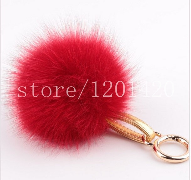 Big 13 cm Soft Feeli0ng Lovely Choicest Fur Pompom Handbag Charm Bag Bug Plush Key Ring Car Key Chain Plush Wallet purse charm
