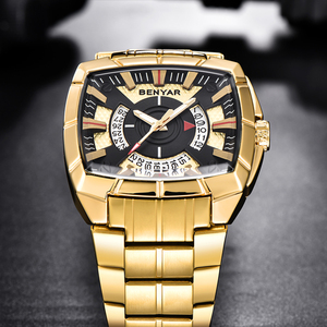 Image 3 - BENYAR Men Watch Business Golden Stainless Steel  Men Quartz Sports Watches Fashion Top Brand Creative Waterproof Wristwatches