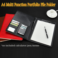 Leather Clip Binder File Folder Pocket For A4 Paper Portfolio Index Card File Cover Envelope Holder