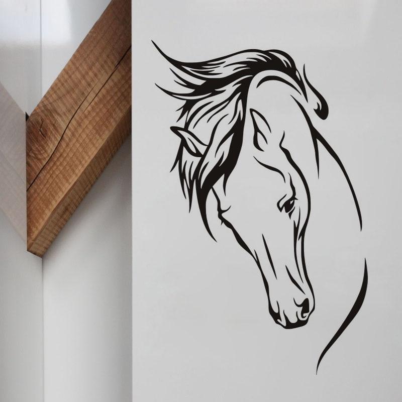 Karstā pārdošana vadītājs zirgu sienas uzlīmes sienas murals - Mājas dekors