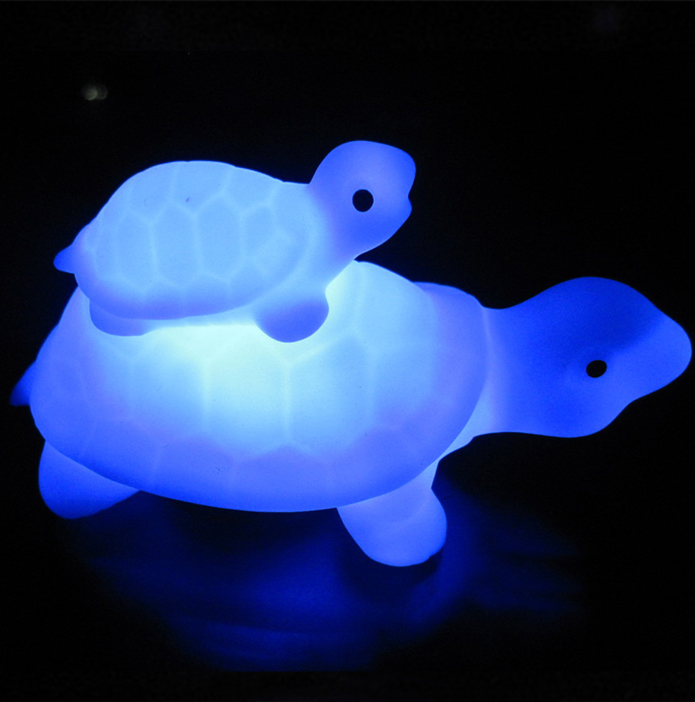 Night Light, Hinmay Portable Child And Mother Tortoise Turtle LED Night Lamp With 7-color Changing Flash Lamp, Nightlight