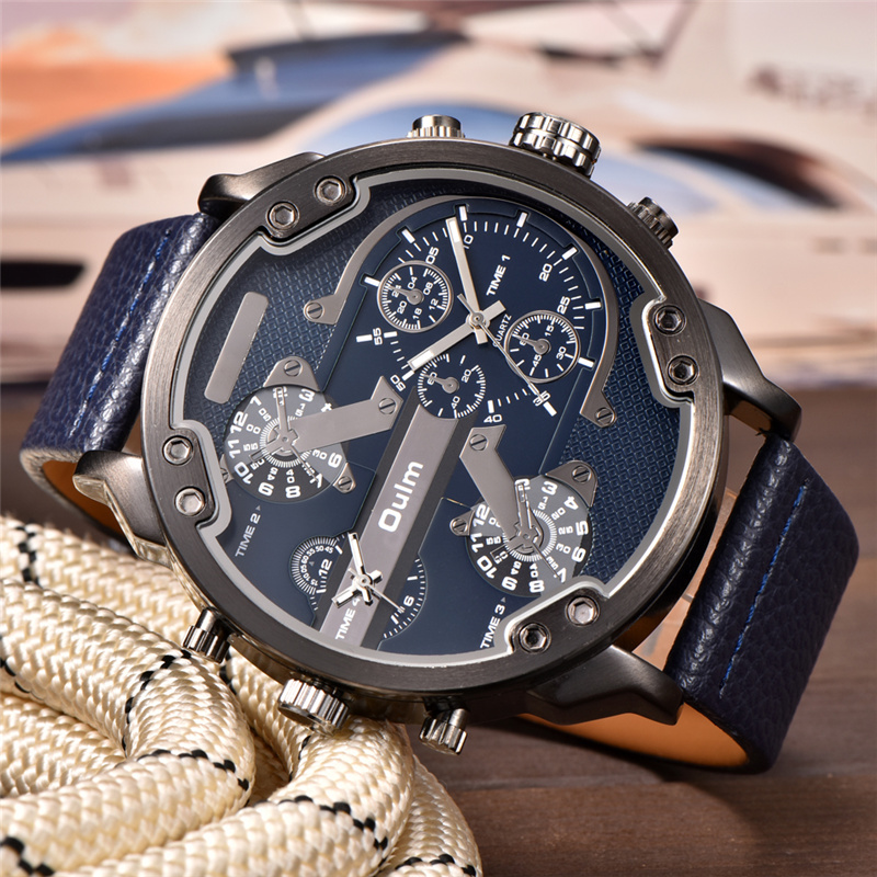 Topdudes.com - Oulm Super Luxury Large Dial Two Time Zone Casual PU Leather Quartz Wrist Watch