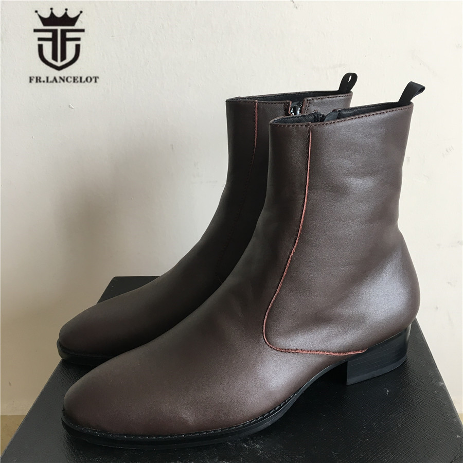 Genuine Leather Luxury High Top Handmade Wedge Harry Brown Zipper Men Boots Pointed Toed SLIM High Boots Real Picture-in Basic Boots from Shoes    2