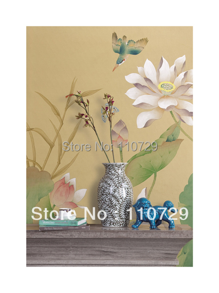 Home Decoration material Hand painted silk wallpaper painting Peony with birds many pictures optonal iarts aha072962 hand painted thick texture of knife painting trees oil painting red 60 x 40cm