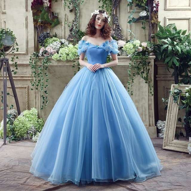 Wedding Gowns 2016 Elegant Princess New Movie Deluxe Blue Cinderella Dress Costume Bridal Adult
